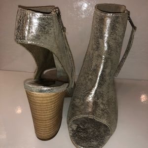 Distressed Silver Leather Heels